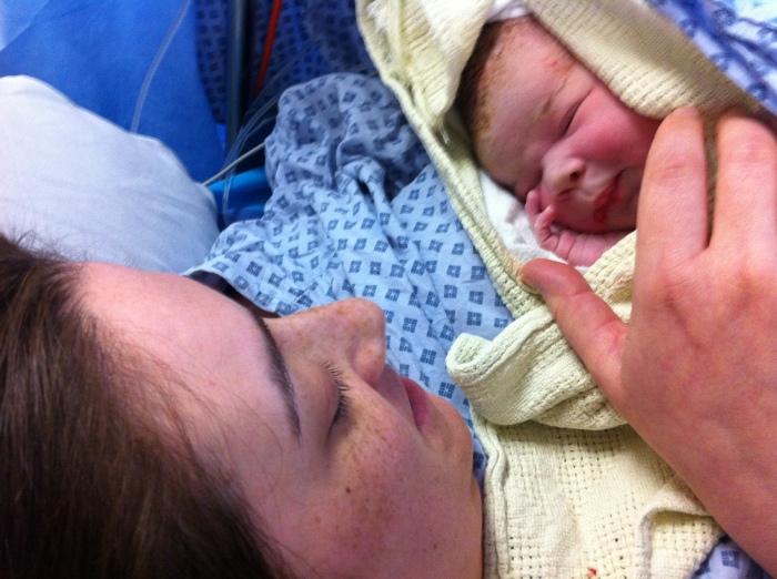 Mummy & Allegra's first cuddle!